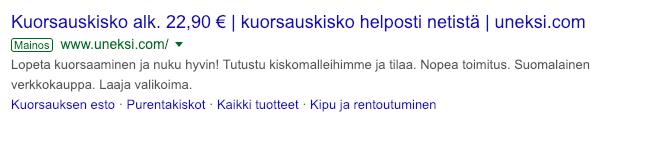 Google Ads esimerkkimainos
