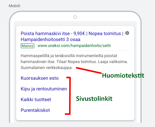Google Ads laajennokset